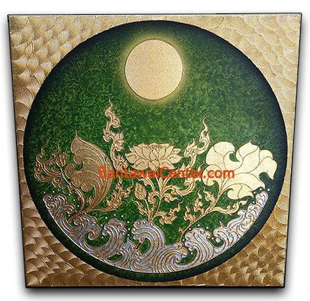 ภาพวาดเฟรมผ้าใบลายทองนูน100x100ni